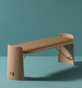 Dante - Goods and Bads Biscotto leather upholstered wooden bench by Christophe de la Fontaine