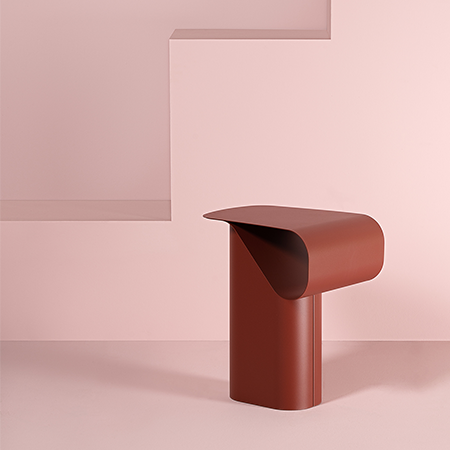 Dante - Goods and Bads Revue side table by Andrea Steidl bordeaux